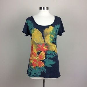 Lucky Brand floral graphic navy t shirt